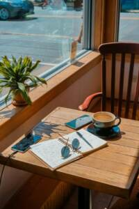 writing at a coffee shop