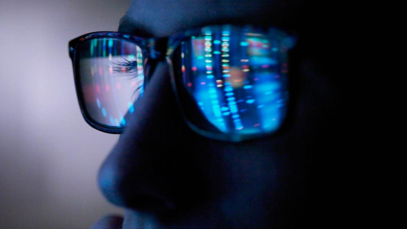 code reflected on glasses