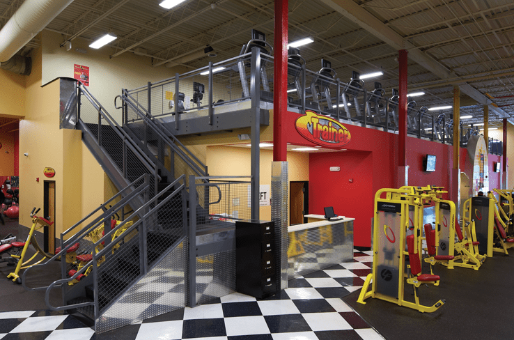 Mezzanine for extra workout space in fitness center