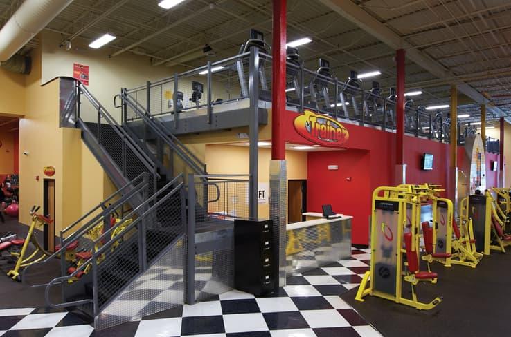 Mezzanine in a fitness center