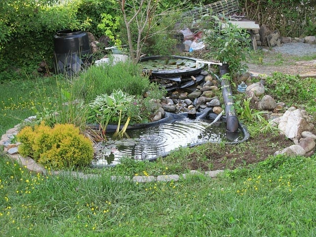 Synthetic Rubber Material lining Koi Pond in Garden