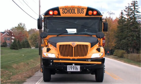 The front of a school bus | School Bus Driver Training
