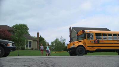 Kids crossing the street after getting off the bus | School bus driver training