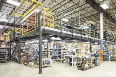 A warehouse mezzanine used for inventory management