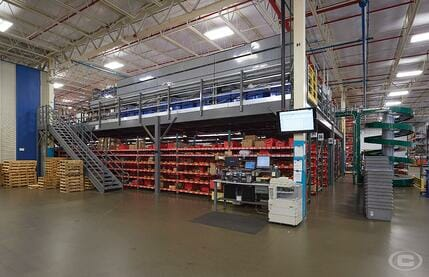 A storage mezzanine in a warehouse