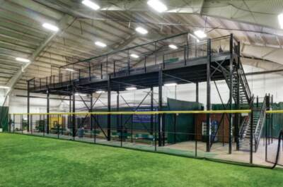 A mezzanine in a indoor sports center