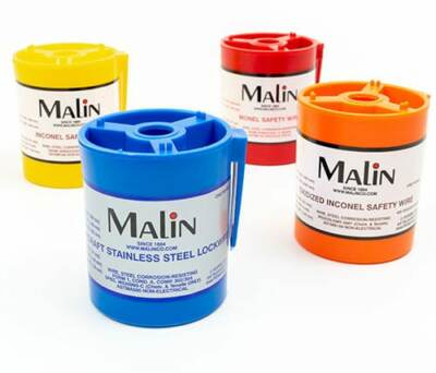 Malin Co. color coded lock wire and safety wire cannisters