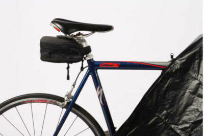 Close up on a bike covered in a rust prevention bicycle bag