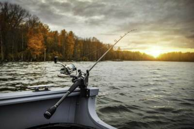 A fishing pole hanging over the edge of a boat | Stainless steel wire fishing wire